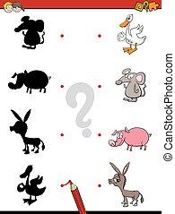 schaduw, spel, met, dieren