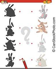 schaduw, spel, met, konijnen
