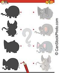 schaduw, spel, met, olifanten
