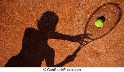 schaduw, van, een, tenniser, bedrijving, op, een, tennisbaan