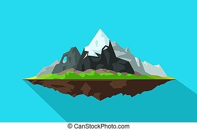 schaduw, vliegen, druppel, bergen, spotprent