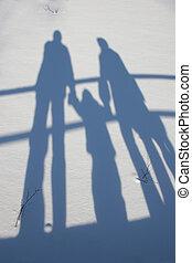 schaduw, winter, gezin