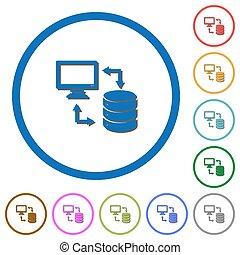 schaduwen, databank, iconen, syncronize, data, overzichten