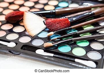 schaduwen, eyelashes, palet, oog makeup, brushes., verdikking, achtergrond., schoonheidsmiddelen, professioneel, verduistering, kleurrijke