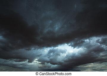 schaduwen, grijze wolken, stormachtige hemel, dramatisch