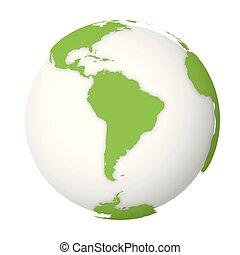 schaduwen, kaart, landen, natuurlijke , globe., laten vallen, illustratie, vector, groene aarde, wereld, witte , 3d