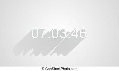 schaduwen, klok, tijdopnemer, lang, digitale , witte