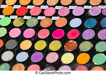 schaduwen, oog, kleurrijke, palette., makeup, achtergrond., make-up