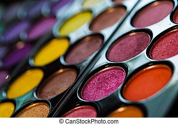 schaduwen, oog, kleurrijke, palette., makeup, achtergrond