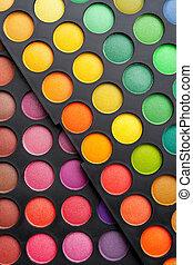 schaduwen, palet, oog, kleurrijke