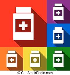 schaduwen, plat, set, container, iconen, medisch, blauwe , sinaasappel, gele, achtergrond., vector., viooltje, groene, teken., rood