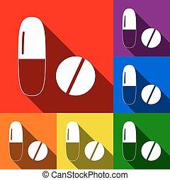 schaduwen, plat, set, teken., iconen, medisch, blauwe , sinaasappel, gele, achtergrond., vector., viooltje, groene, pillen, rood