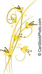 schaduwen, vecto, bloemen, -, gele