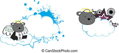 schafe, engelchen, copyspace, wolke, karikatur