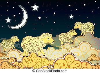 schafe, stil, wolkenhimmel, gehen, nacht, karikatur