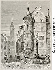 Schaffhausen market place old view, German Switzerland....