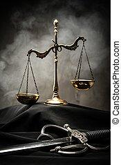 schalen, en, zwaard, van, justitie, op, een, rechter, mantel