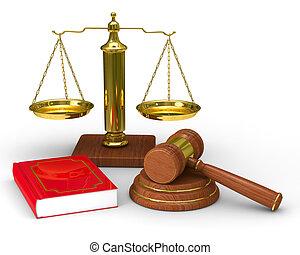 schalen, justitie, en, hamer, op wit, achtergrond.,...