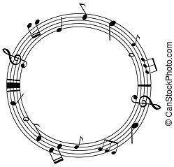 schalen, opmerkingen, ronde, muziek, mal, frame