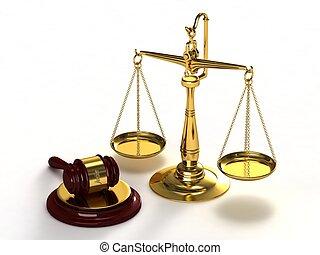 schalen van gerechtigheid, en, gavel.