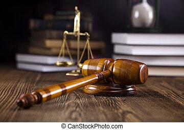 schalen van gerechtigheid, gavel, en, wet, bo