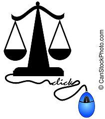 schalen van gerechtigheid, met, muis