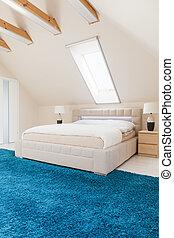 schalfzimmer, mit, blaues, teppich