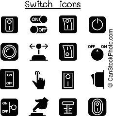 schalter, satz, ikone