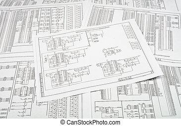 schaltkreise, papier, elektrisch, gedruckt, hintergrund,...