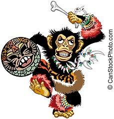schamane, schimpanse, karikatur, tanzen