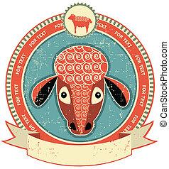 schapenhoofd, oud, texture.vintage, etiket, papier, stijl