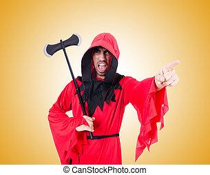 scharfrichter, in, rotes , kostüm, mit, axt, gegen, der,...