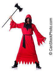 scharfrichter, in, rotes , kostüm, mit, axt, weiß