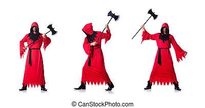 scharfrichter, weißes, kostüm, rotes , axt