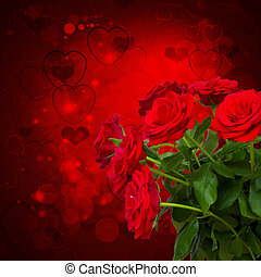 scharlaken, rozen, op, donkere achtergrond