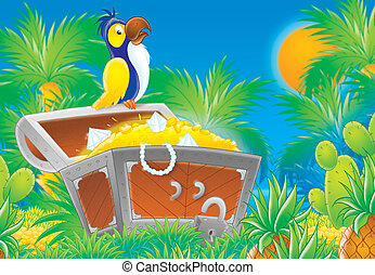 schat, begraven, papegaai