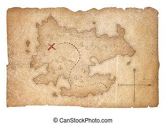schat, piraten, kaart, vrijstaand, met, knippend pad, included