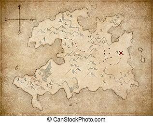schat, pirates', oud, kaart