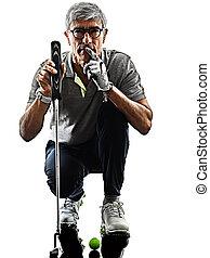 schatten, älterer mann, weißes, golf, silhouette, hintergrund, freigestellt, golfspieler