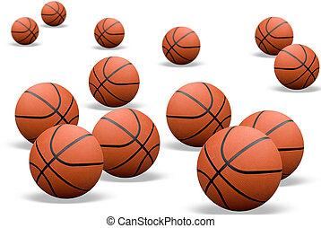 schatten, basketbälle