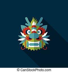 schatten, feuerdrachen, neu , ikone, chinesisches , langer, jahr, eps10, wohnung