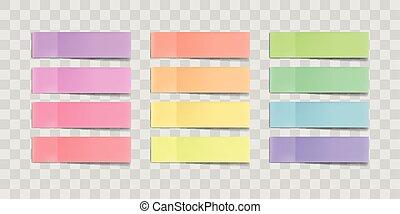 schatten, klebstoff, vektor, bunte, notizen, freigestellt, klebrig, hintergrund., mehrfarbig, papier, band, aufkleber, durchsichtig