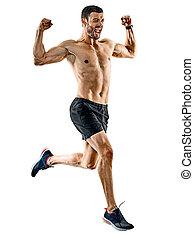 schatten, läufer, rennender , freigestellt, jogger, jogging, mann