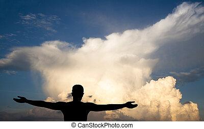 schatten, mann, schwarz, wolkenhimmel, junger