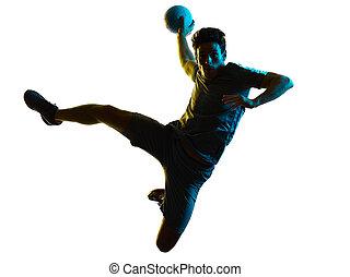 schatten, silhouette, handball, weißes, mann, freigestellt, hintergrund, spieler