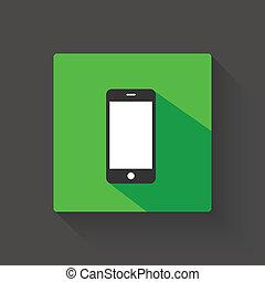 schatten, smartphone, langer, abbildung