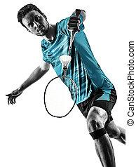 schatten, spieler, mann, weißes, silhouette, badminton, hintergrund, freigestellt