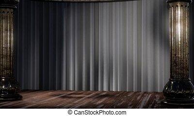 schatten, theatervorhang, licht