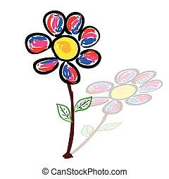 schatten, vektor, kunst, abbildung, gänseblumen