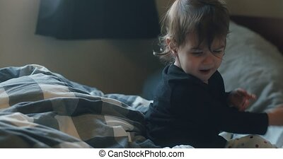 schattig, 1-year, oud, home., meisje, toddler